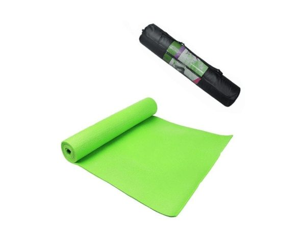Pvc Yoga Mat Exercise with Carrying Bag - Pink - 10 mm