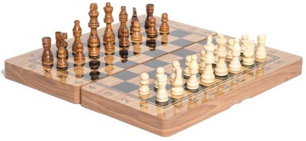 لعبة شطرنج ثلاثة في واحد الخشبية