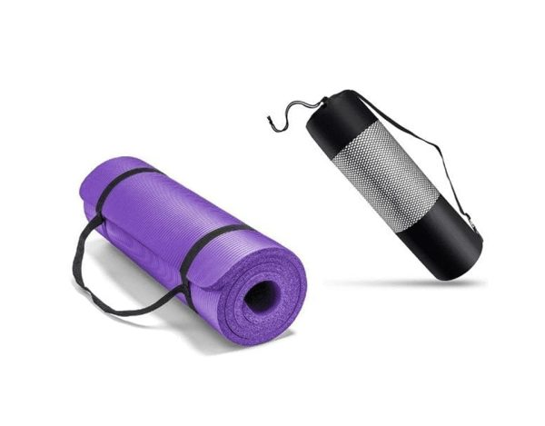 Exercise Yoga Mat With Carry Bag Thick 10 MM -Purple