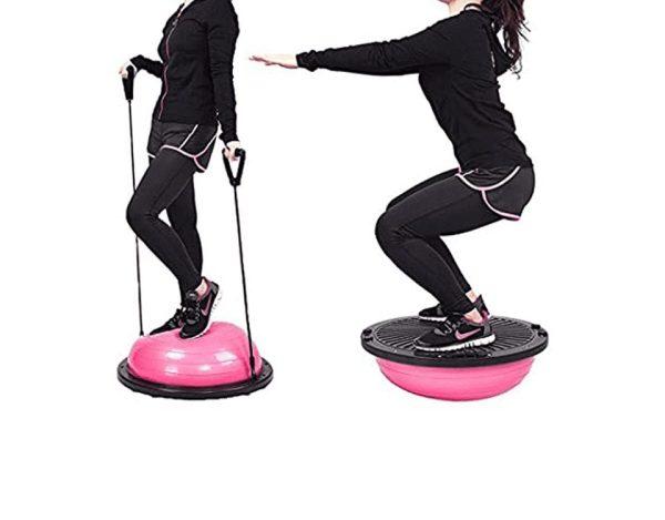 Yoga Half Ball Balance with Resistance Bands - Pink