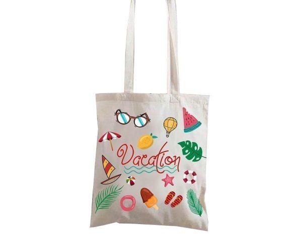 Beach Bag Shoulder Canvas For Summer & Holidays - Beige