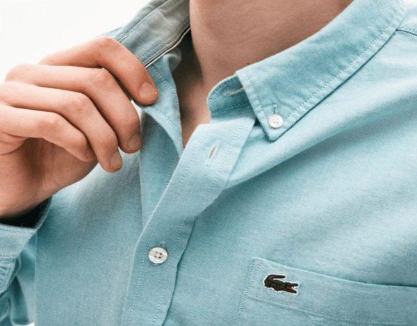 قميص رجالي باكمام طويلة من لاكوست - أخضر فاتح