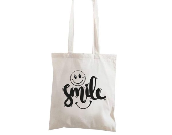 Shoulder Bag Canvas 100% Cotton With Smiley Face