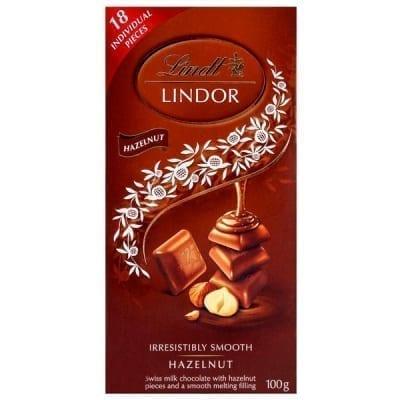 ليندور شوكولاتة بالحليب مع البندق من ليندت 100 جم