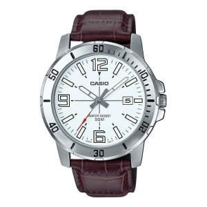 Casio Men's Casual Leather Band Wrist Watch Analog - Model MTP-VD01L-7BVUDF - High Copy