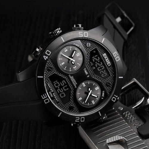 SKMEI 1355 Men Quartz 3 Time Chrono Watches Analog Digital