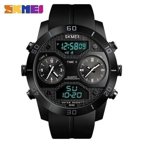 SKMEI 1355 Men Quartz 3 Time Chrono Sports Wrist Watch Analog Digital - High Copy