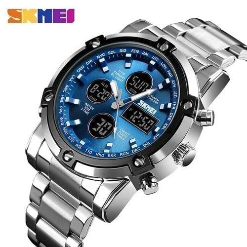 SKMEI Luxury Stainless Steel Digital Quartz Wrist Watch For Men Multi functional 1389 - High Copy