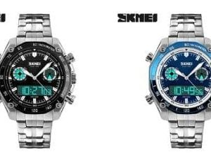 Skmei Casual Wrist Watch For Men Analog-Digital Stainless Steel - 1204 - High Copy