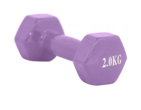 Exercises Dumbbell Vinyl 2 kg – One Piece – Purple