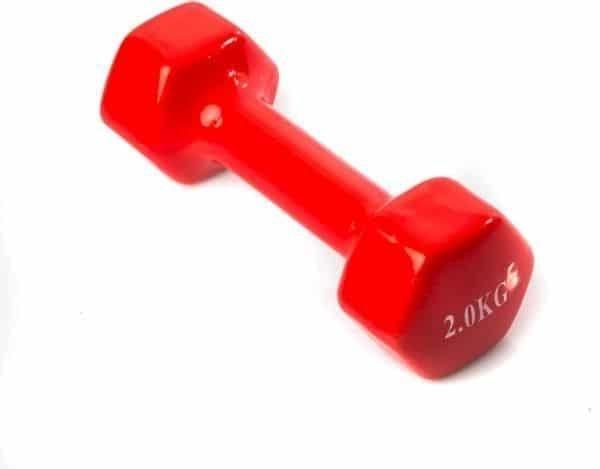 دمبل 2 كيلو فينيل اوزان للتمارين الرياضية وزن 2 كجم - قطعة واحدة - احمر