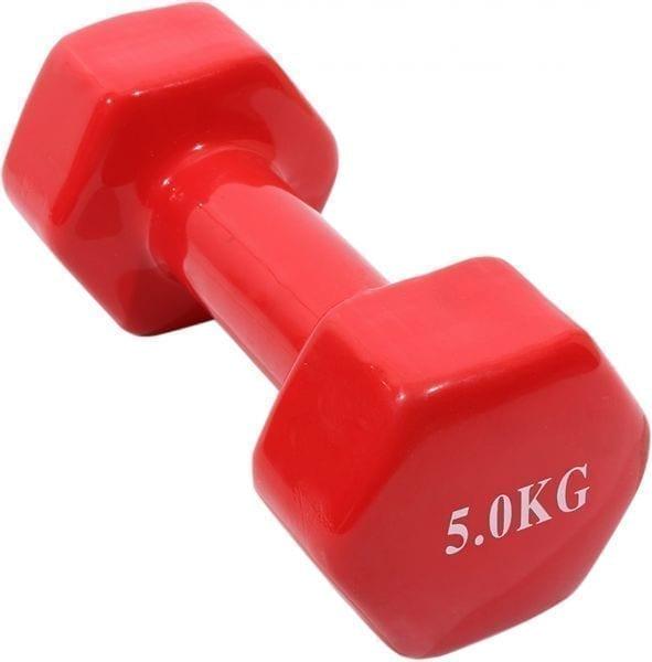 دمبل اوزان لتمارين رفع الاثقال والجيم وزن 5 كجم - قطعة واحدة - احمر