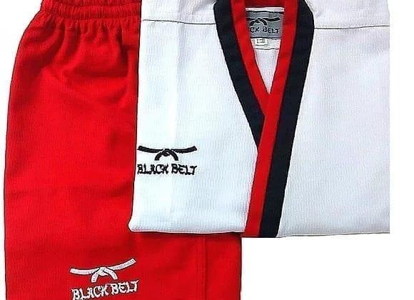Taekwondo Uniform Poomsae Female From Black Belt - Red