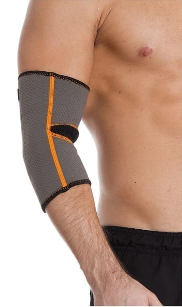 Elbow Support By Liveup - Sports Knee Warps Gym Grey + Orange