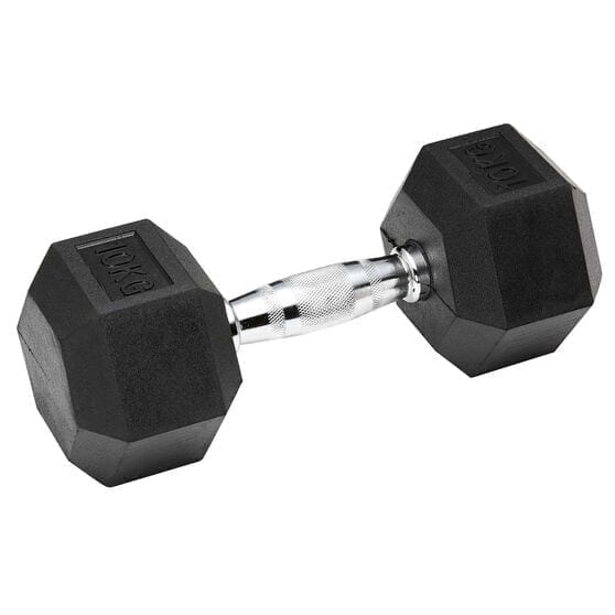 Hex Rubber Dumbbell with Chrome Handle, 10 KG - One Hand