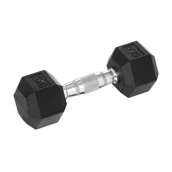 Rubber Hex Fitness Dumbbell 5 KG