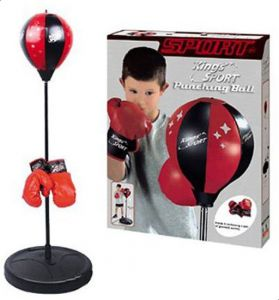 Punching Speedball With Stand - Large - Black + Red