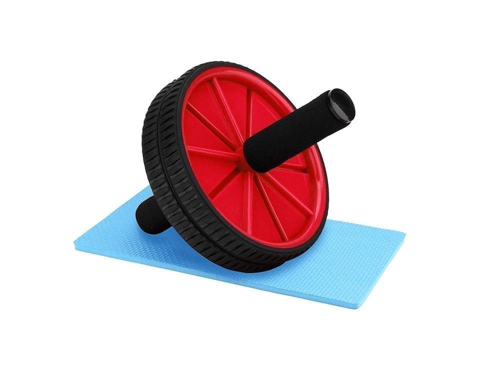 عجلة بطن مزدوجة لشد البطن والتمارين الرياضية مع سجادة صغيرة - أحمر