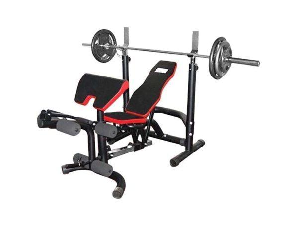 بنش متعدد الاستخدامات - بنش بطن بحامل بار - بنش لتمارين الصدر والارجل - اسود - يتحمل حتى 120كجم