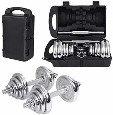 Chrome Dumbbell Set 20kg - Adjustable Weights Chrome Plated for Weightlifting and Fitness 20 Kg