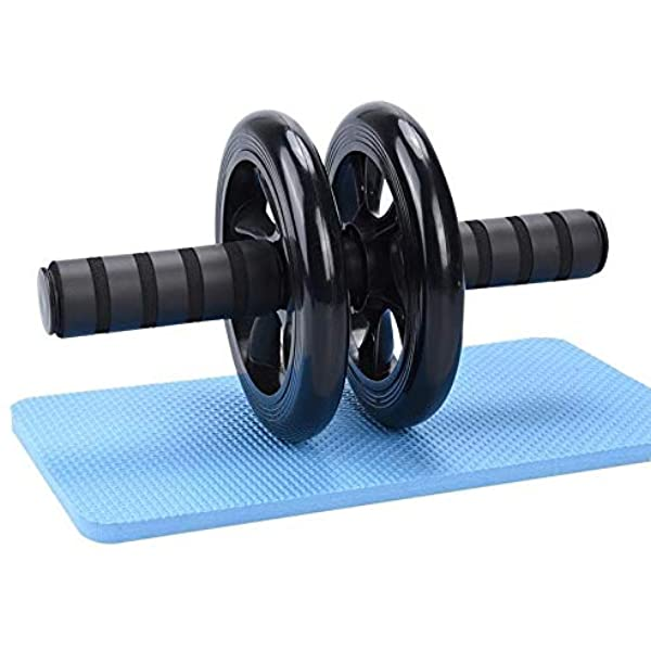 Double Ab Wheel Roller Exercise With Knee Mat– Double Ab Roller – Black