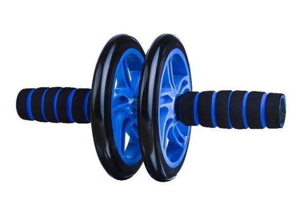 عجلة تدريب مزدوجة لتمارين البطن - عجلة بطن مزدوجة -اسود +ازرق
