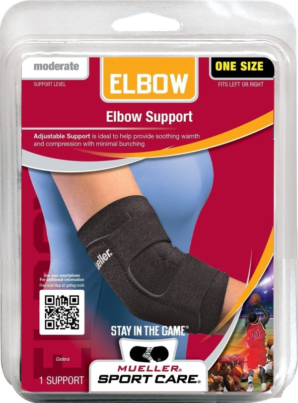 Mueller Adjustable Elbow Support - Elbow Brace For Joint Pain - Black - One Size
