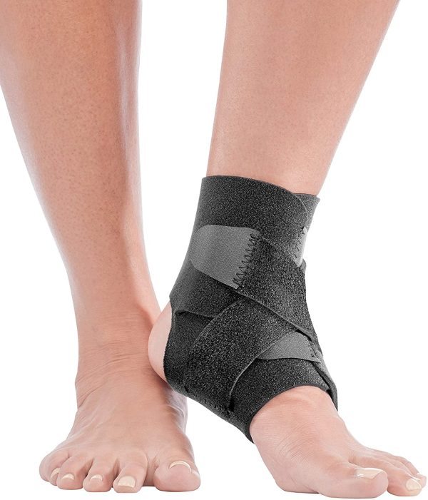 Mueller Adjustable Ankle Support - Adjustable Ankle Stabilizer For the Treatment of Plantar Fasciitis - Black - One Size Fits Most