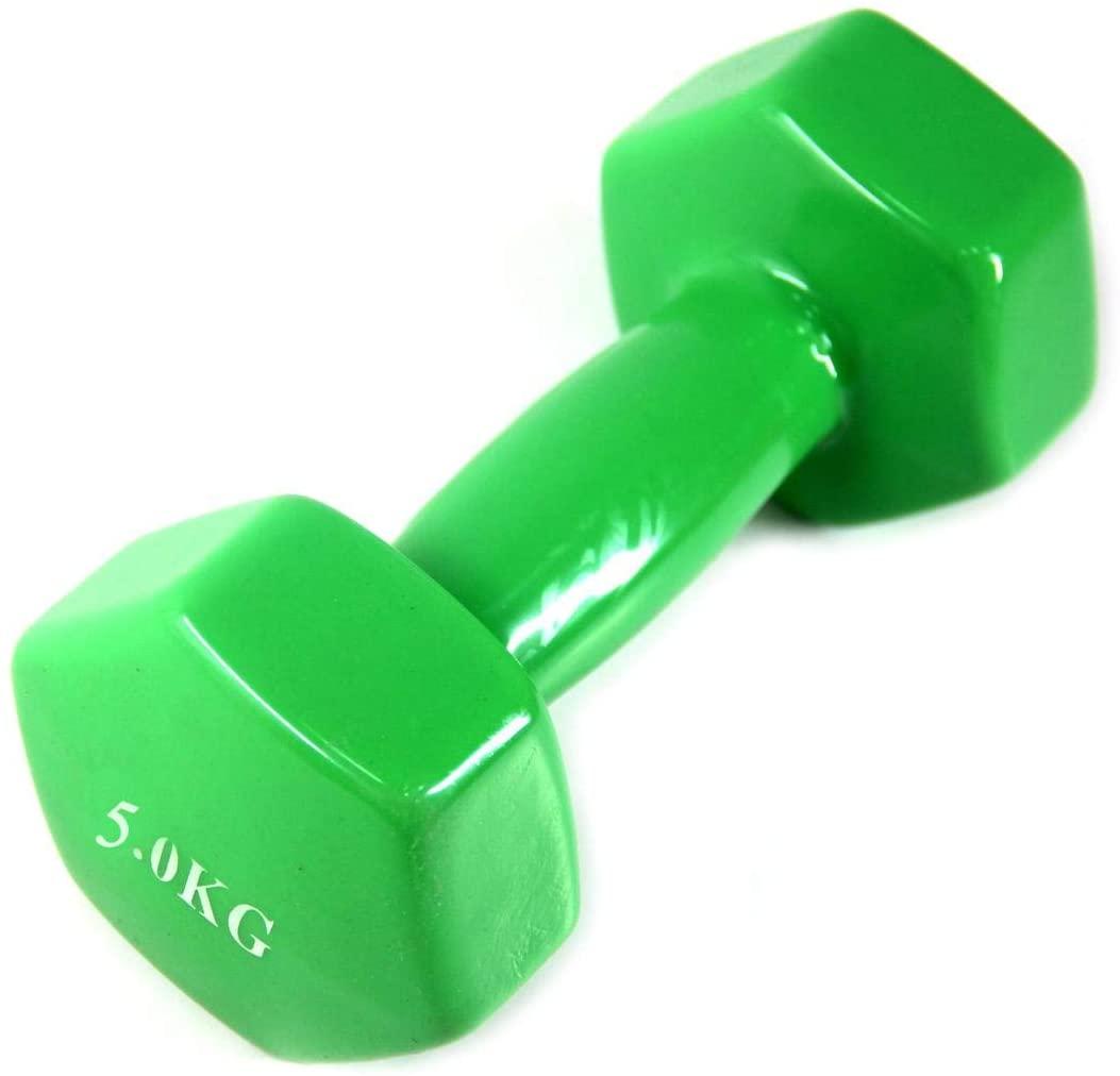 Dumbbell Vinyl 5 Kg - Dumbbell Weights for Aerobic Exercises - Green