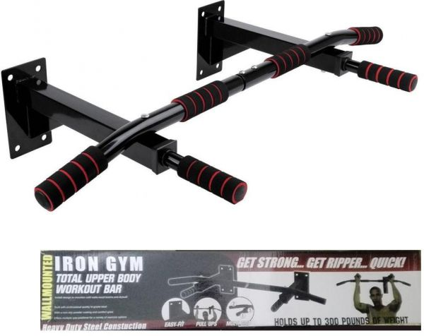 Iron Gym Multi -Use Pull Up Bar - Fitness Pull UP Bar - Max Use 140 kg - Black