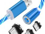 Fast Charging 3 in 1 Magnetic Type C Micro USB - 1M USB Cable Blue for Mobile Phone