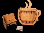 Laser Wood Coffee Corner - Coffee Corner With Sofa and Coaster