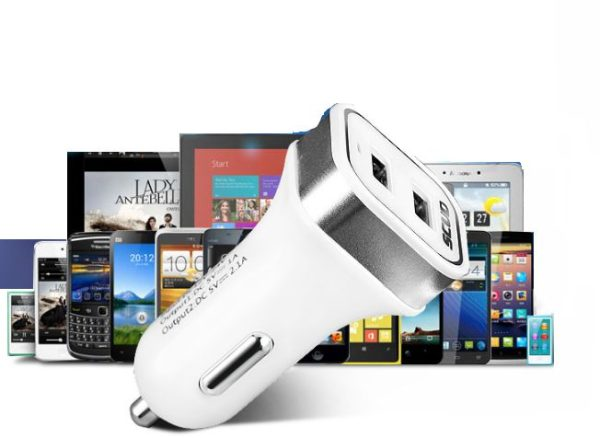 Scud Car Lighter Mobile Charger - Multi-Port Car Mobile Charger - White