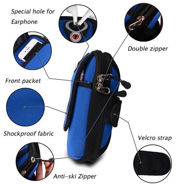 Arm Phone Holder Shoulder Pouch - Blue