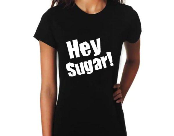 "Printing Black T Shirt Crew Neck ""Hey Sugar"" - Casual T- Shirt Cotton 100% – Black - Size 14"